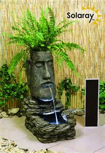 solar powered water feature with lights h73cm easter island solar water feature and planter