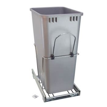 pull out 50 qt trash can chrome silver container rv
