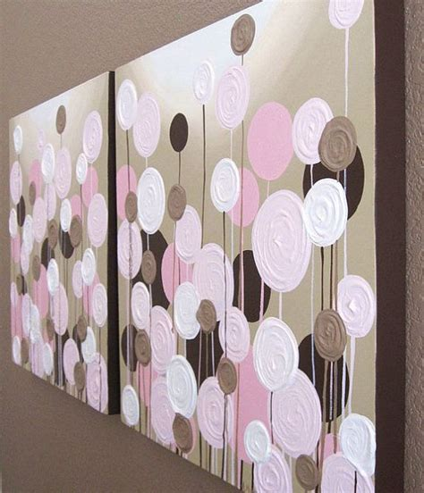 pink and brown nursery textured flowers set of two 20x20 quot acrylic paintings on canvas