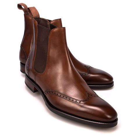 Handmade Dress Boots - handmade brown boots wingtip chelsea boot for