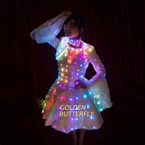 light lade led dress illuminated butterfly sleeve clothes led light