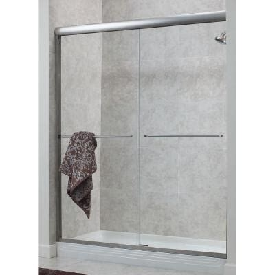 Home Depot Shower Doors Sliding Foremost Cove 48 In X 72 In H Semi Framed Sliding Shower Door In Brushed Nickel With 1 4 In