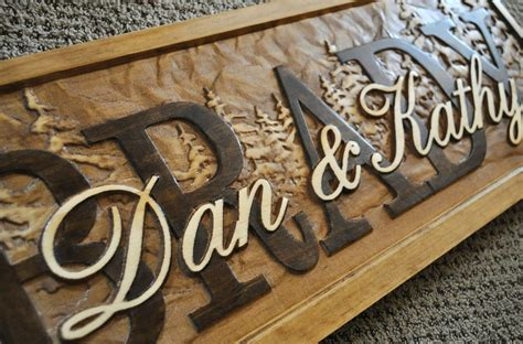 Handcrafted Wooden Signs - personalized family name signs carved custom wooden sign last