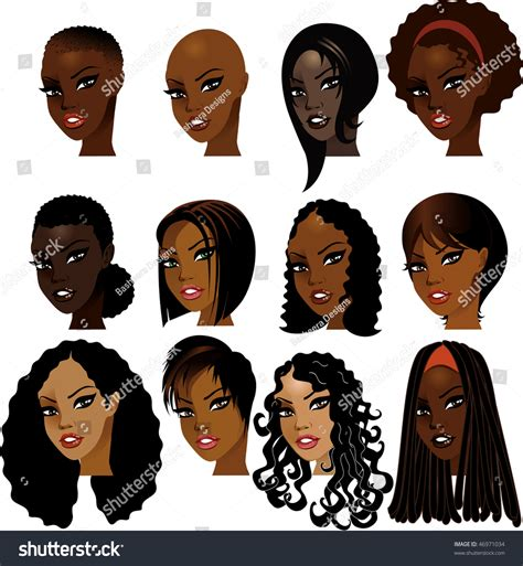 Twist Hairstyle Tools Clipart Transparent by Vector Illustration Black Faces Great Stock Vector