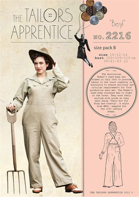 sewing patterns in australia pack a 8 10 12 australian land army women overalls sewing