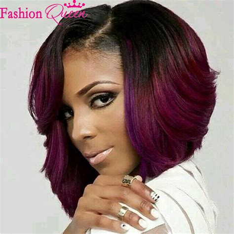 purple lace front bob wigs for black women two tone ombre purple full lace human hair ombre wigs lace