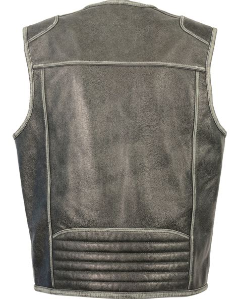 Vest Zipper Big milwaukee leather men s vintage distressed zipper front