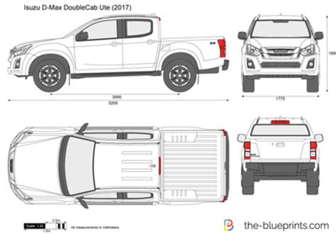 isuzu d max double cab ute vector drawing