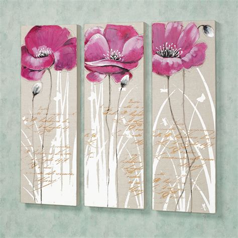 4 Pink Flower Wall D Cor Picture Print pink canvas wall classic style pink canvas print 3 panels m32225 wall with classic