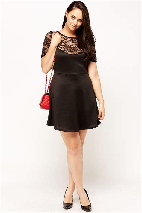 black lace swing dress black lace insert swing dress just 163 5