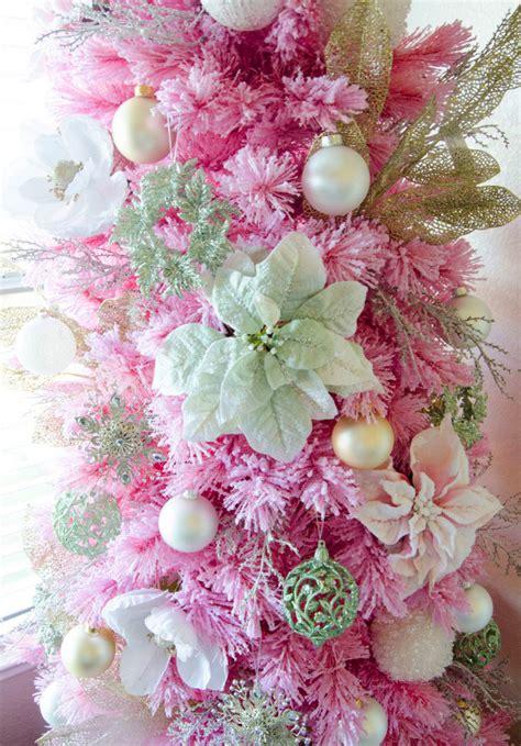 angel pink flocked christmas tree treetopia