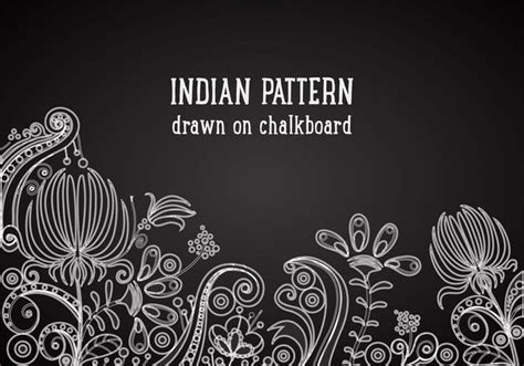 Topi Fashion Kpop Floral Pattern Design 2 free indian pattern on blackboard vector background
