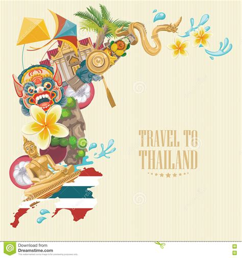 thailand boat drawing travel thailand landmarks with thailand map thai vector