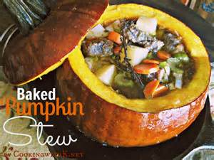 cooking with k stew in a pumpkin baked and served in a