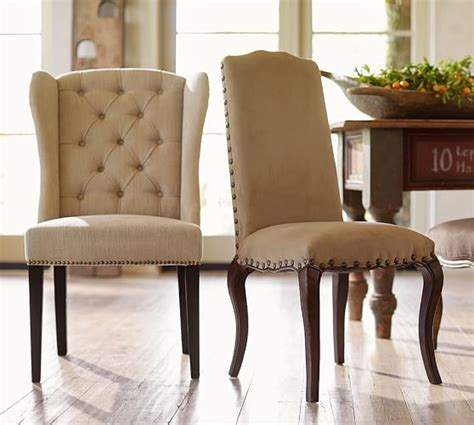 tufted wingback dining chair thayer tufted wingback chair pottery barn