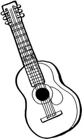 acoustic guitar coloring page 6 string guitar coloring page supercoloring com