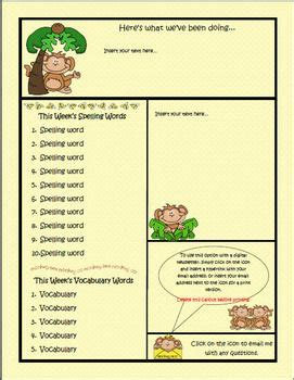 Monkey Theme Newsletter Template Publisher Teacherspayteachers Com Teaching Ideas Monkey Newsletter Template