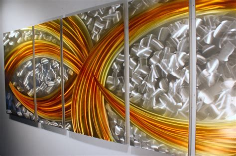 painting decor wilmos kovacs abstract painting on metal sculpture rainbow wall decor w856a metal wall