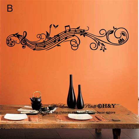 music wall decor music musical vine flowers notes removable wall art stickers vinyl decal decor ebay