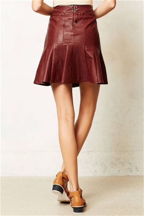 anthropologie vegan leather skater skirt in brown wine