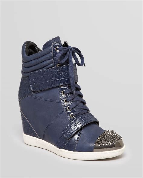 sneaker wedges blue boutique 9 lace up wedge sneakers nevan in blue navy lyst