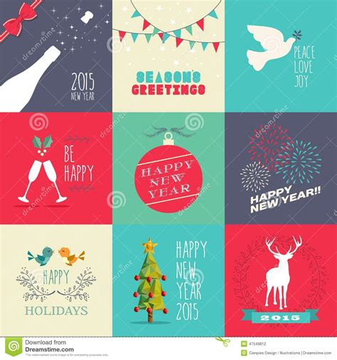 new year printable posters new year 2015 flat design set stock vector image 47549812