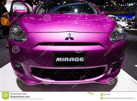 purple mitsubishi purple mitsubishi mirage on display editorial photo
