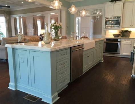 awesome kitchen with turquoise aqua blue island coastal