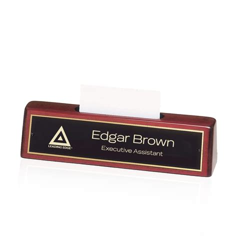 engraved desk name plates with business card holder logo engraved rosewood piano finish desk nameplate with