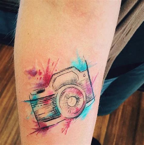 camera tattoos watercolor ink