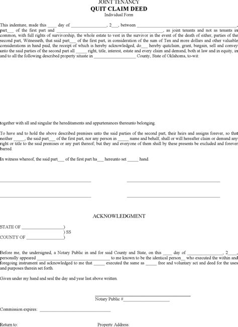 joint tenancy agreement template oklahoma quitclaim deed form for free tidyform