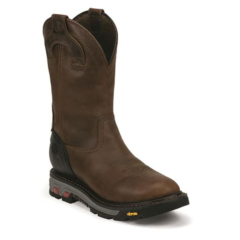 justin pull on work boots justin s commander x5 waterproof 11 quot toe pull on