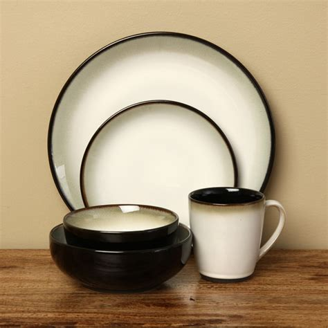 sango 40 piece nova black stoneware dinnerware set overstock shopping great deals on sango