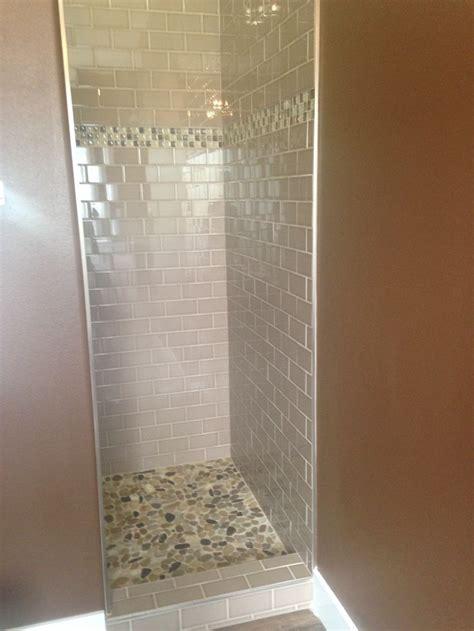 master shower walls  subway tile   beigetaupe color