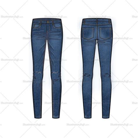 knee patterned jeans skinny jeans with knee slits flat template illustrator stuff