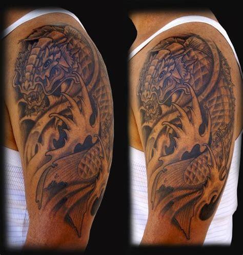 black and grey koi dragon tattoo jeff johnson tattoo tattoos black and gray dragon koi