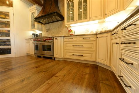 Distressed Hardwood Flooring In Kitchens - distressed hickory floors kitchen traditional