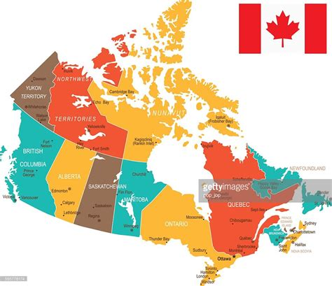 map pf canada colored canada map vector getty images