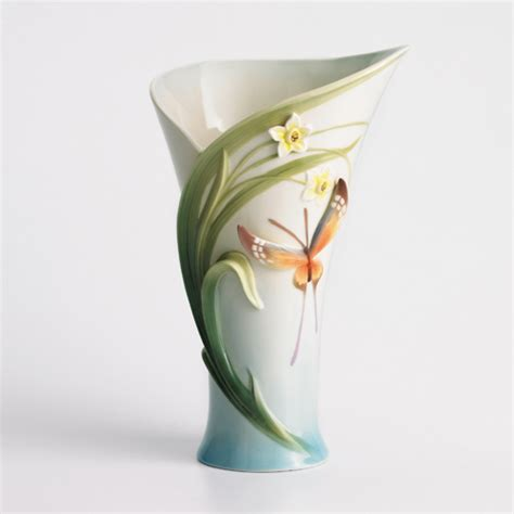 franz collection papillion butterfly porcelain vase