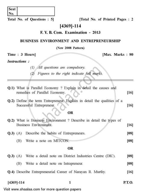 tutorial questions on entrepreneurship question paper business environment and entrepreneurship