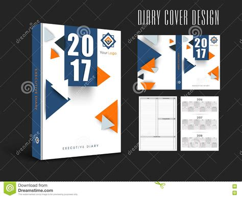 diary cover design or template layout stock illustration