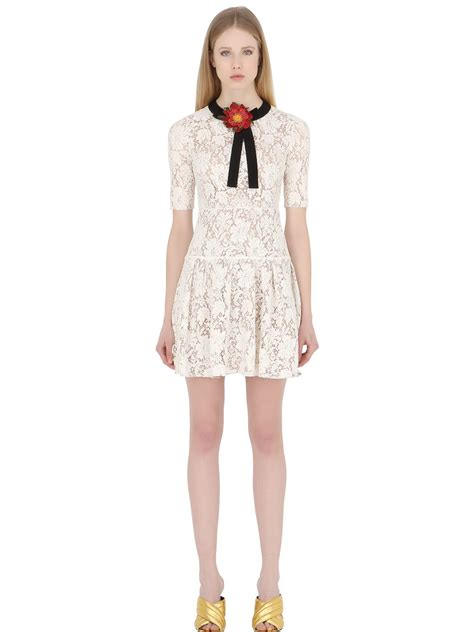 White Lace Black Cotton Dress gucci flower embellished cotton and lace blend dress in