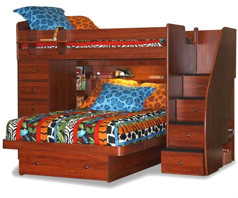 twin over full l shaped bunk bed with stairway chest bed