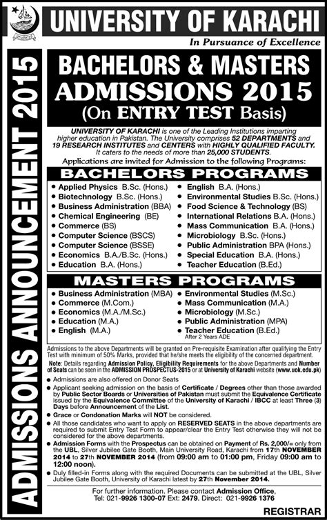 Mba Admission Requirements In Karachi by Of Karachi Karachi Bba Bscs Bs Commerce Mba