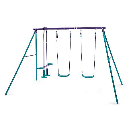 double swing sets plum metal swing set with double swing and glider