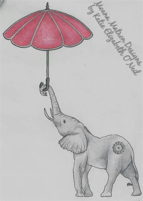 elephant tattoo umbrella quot float away quot a pencil pen and prismacolor pencil sketch