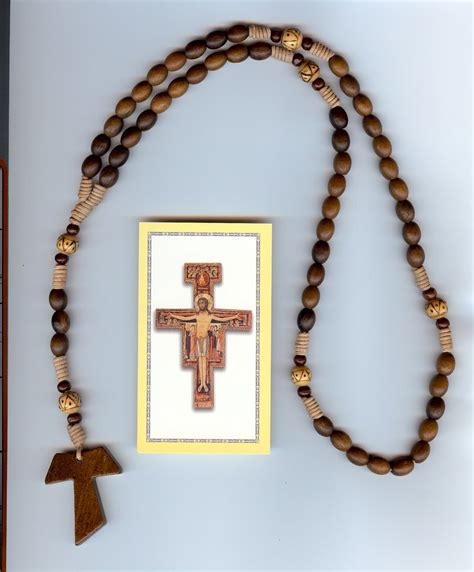 franciscan rosary 27 tau wood cross rosary a sign of all franciscans this