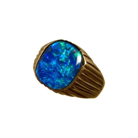 blue opal mens opal ring 14k gold blue square opal rings men
