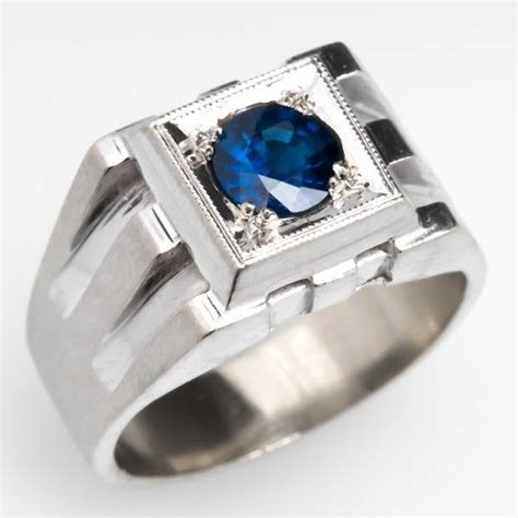 Cincin Perak Kombinasi White Gold 096 mens blue sapphire ring mens estate jewelry blue sapphire sapphire rings and blue