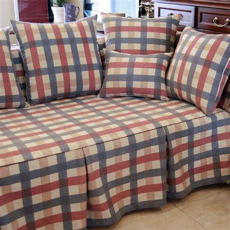plaid loveseat american country style red green plaid decorative sofa